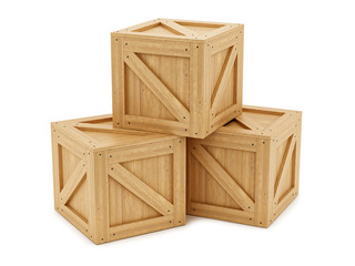 render of wooden boxes, isolated on white
