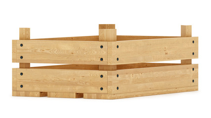render of a wooden crate,isolated on white