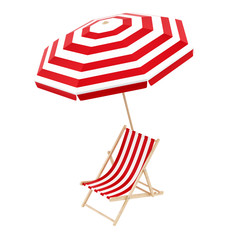 render of a deck chair with umbrella, isolated on white
