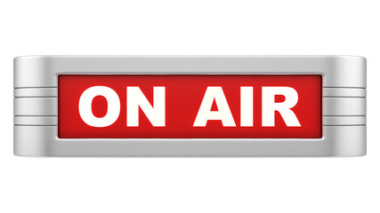 render of on air sign, isolated on white