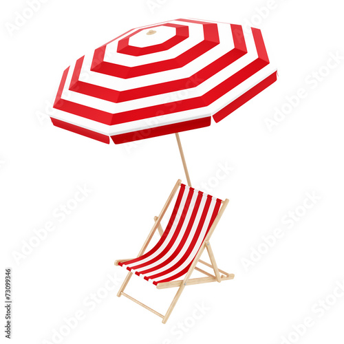 render of a deck chair with umbrella, isolated on white - 73099346