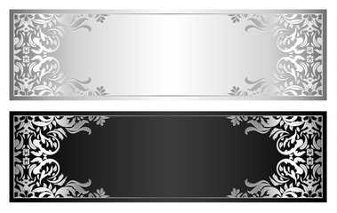 Silver and black voucher with victorian pattern