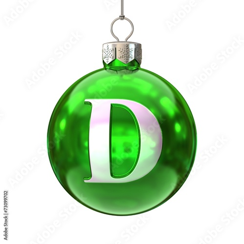 Colorful Christmas ball font letter D