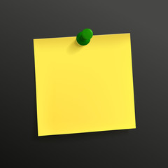 yellow note paper with pin