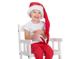 Funny little Santa girl