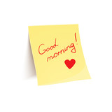 Note to wish good morning glued to wall poster
