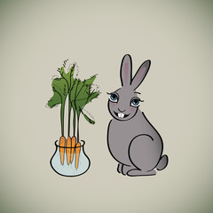 Happy Rabbit / Card with cute bunny with bunch of carrots