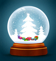 snow globe with trees and gifts