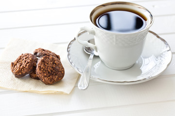 chocolate cookies and coffee