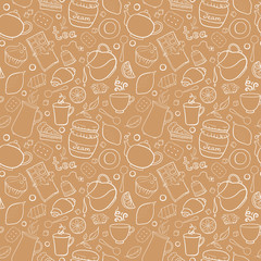 Tea and sweets vector seamless pattern