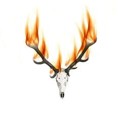 Hirschgeweih mit Feuer