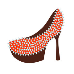 Women's high-heeled red shoes decorated with studs