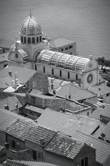 Sibenik, Croatia - monochrome black white photo