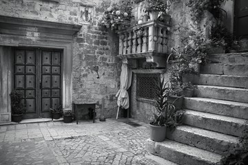 Croatia. Trogir - monochrome black white photo