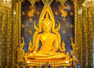 Buddha statue at Wat Prasrimahathad pitsanuloke in Thailand.