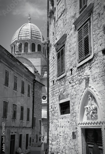 Croatia - Sibenik - monochrome black white photo - 73101127