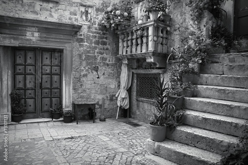 Obraz Croatia. Trogir - monochrome black white photo