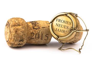 Champagnerkorken frohes neues Jahr 2015