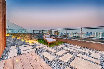 Roof terrace with jacuzzi and sun lounger