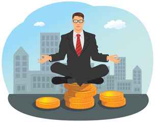 Businessman meditating in yoga lotus pose on stack of gold coin