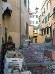 Narrow cobbled street and fishing nets, Boccadasse