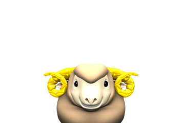 Smile Brown Sheep On Text Space