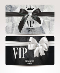 Elegant VIP platinum cards with silk ribbons