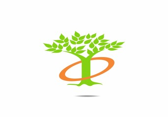 Simple tree icon with green leaves in a circle