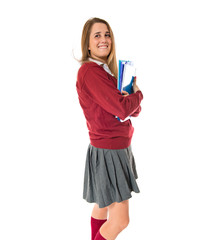Happy student over white background
