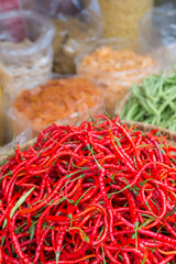 Red chili peppers in market