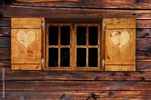 Leinwanddruck Bild Fenster mit Fensterladen