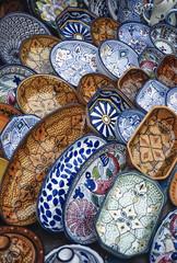 Tunisia, Sidi Bou Said, local ceramic handicraft for sale