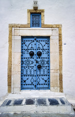 Tunisia, Sidi Bou Said, typical tunisian wooden frontdoor