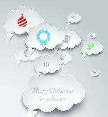 Merry Christmas Vector background with bubble speech