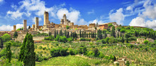 "Постер, картина, фотообои ""panorama of beautiful San Gimignano, Tuscany. Italy"""