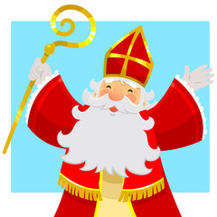 cartoon Sinterklaas or Saint Nicholas raising his hands