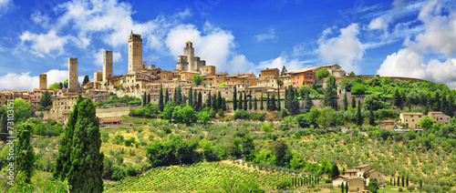 Canvas Europa panorama of beautiful San Gimignano, Tuscany. Italy