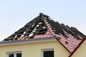 verkohlter Dachstuhl