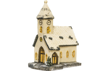 Ceramic toy house isolated