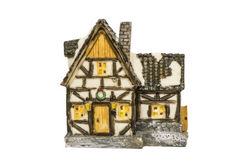 Ceramic toy house isolated