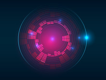 Abstract red blue circular equalizer background