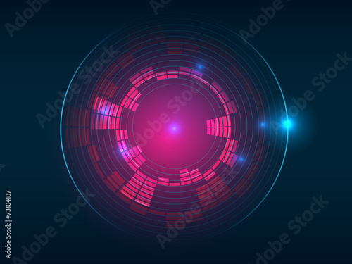 Abstract red blue circular equalizer background - 73104187