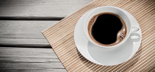 Espresso on desk, above view