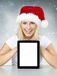 Tablet pc for christmas with pretty woman