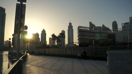 Sunset Dubai Skyline Cityscape Business Arab Skyscrapers