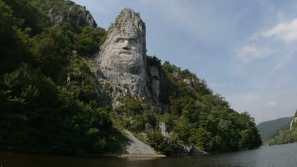 Giant rock carving Danube river camera tracking