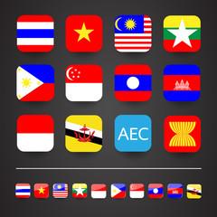 AEC Flag flat icon. material mobile design