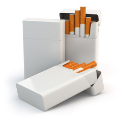 Open full packs of cigarettes isolated on white background.