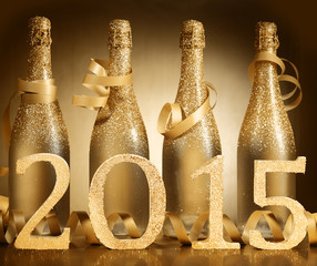 2015 New Year champagne background celebration