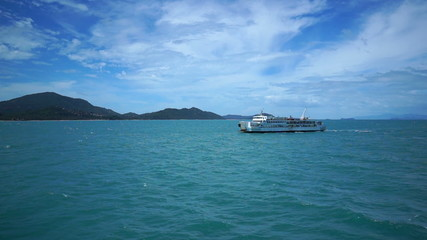 ferry ship sails towards